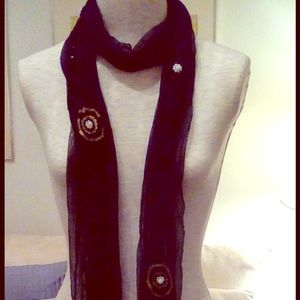 Accessories - Pearl and sequin adorned rectangular black scarf.